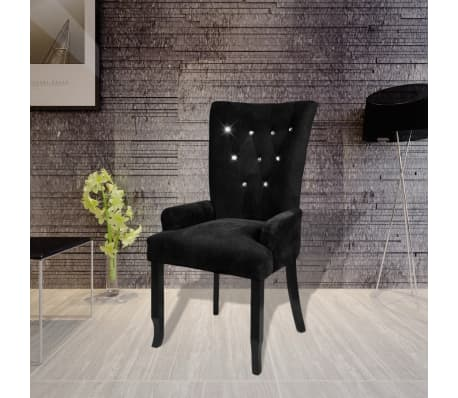 vidaXL Armchair with Wooden Frame Velvet Black[1/6]