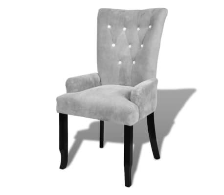 vidaXL atzveltnes krēsls ar koka rāmi, sudrabkrāsas samts[2/6]