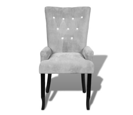 vidaXL atzveltnes krēsls ar koka rāmi, sudrabkrāsas samts[5/6]