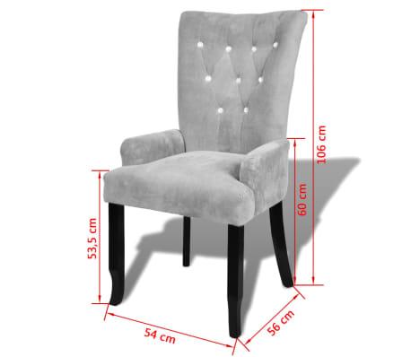 vidaXL atzveltnes krēsls ar koka rāmi, sudrabkrāsas samts[6/6]