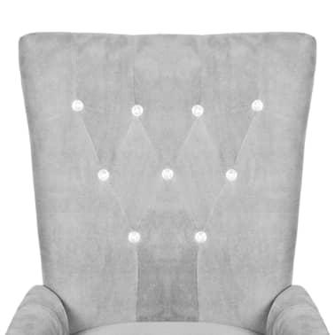 vidaXL atzveltnes krēsls ar koka rāmi, sudrabkrāsas samts[3/6]