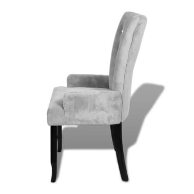 vidaXL atzveltnes krēsls ar koka rāmi, sudrabkrāsas samts[4/6]