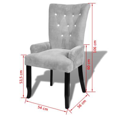 vidaXL lænestol med træstel fløjl sølv[6/6]