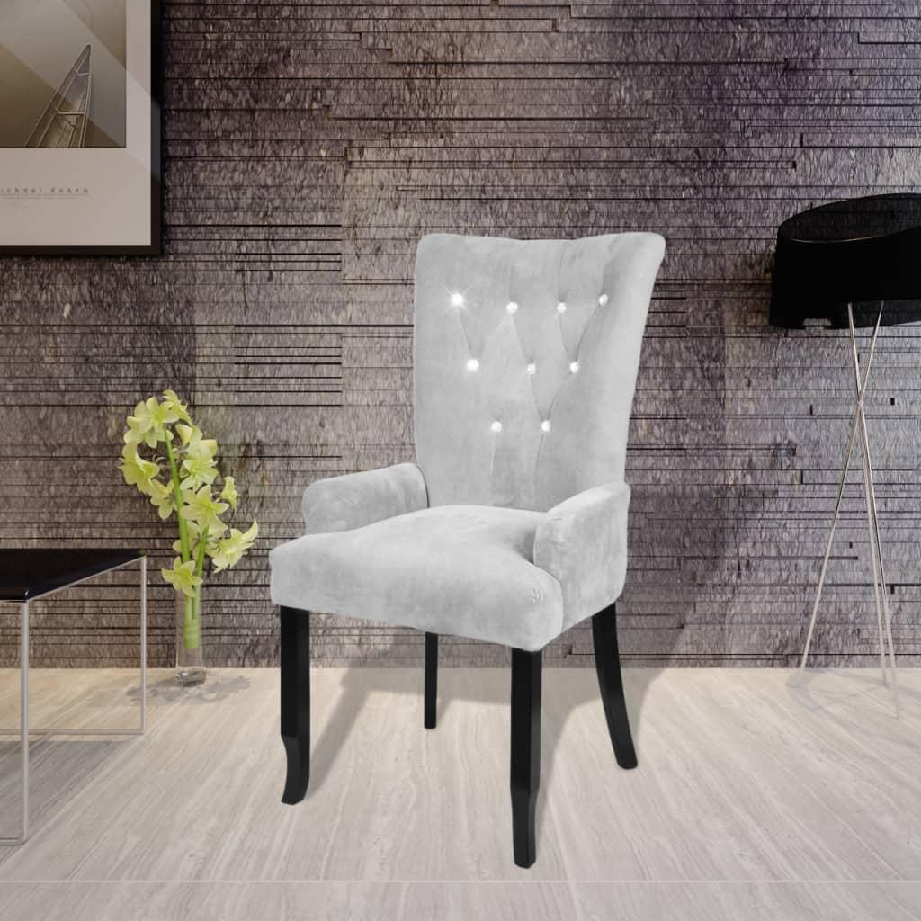 vidaXL Fotel, srebrny, aksamit