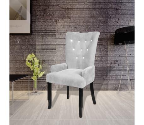 vidaXL lænestol med træstel fløjl sølv[1/6]