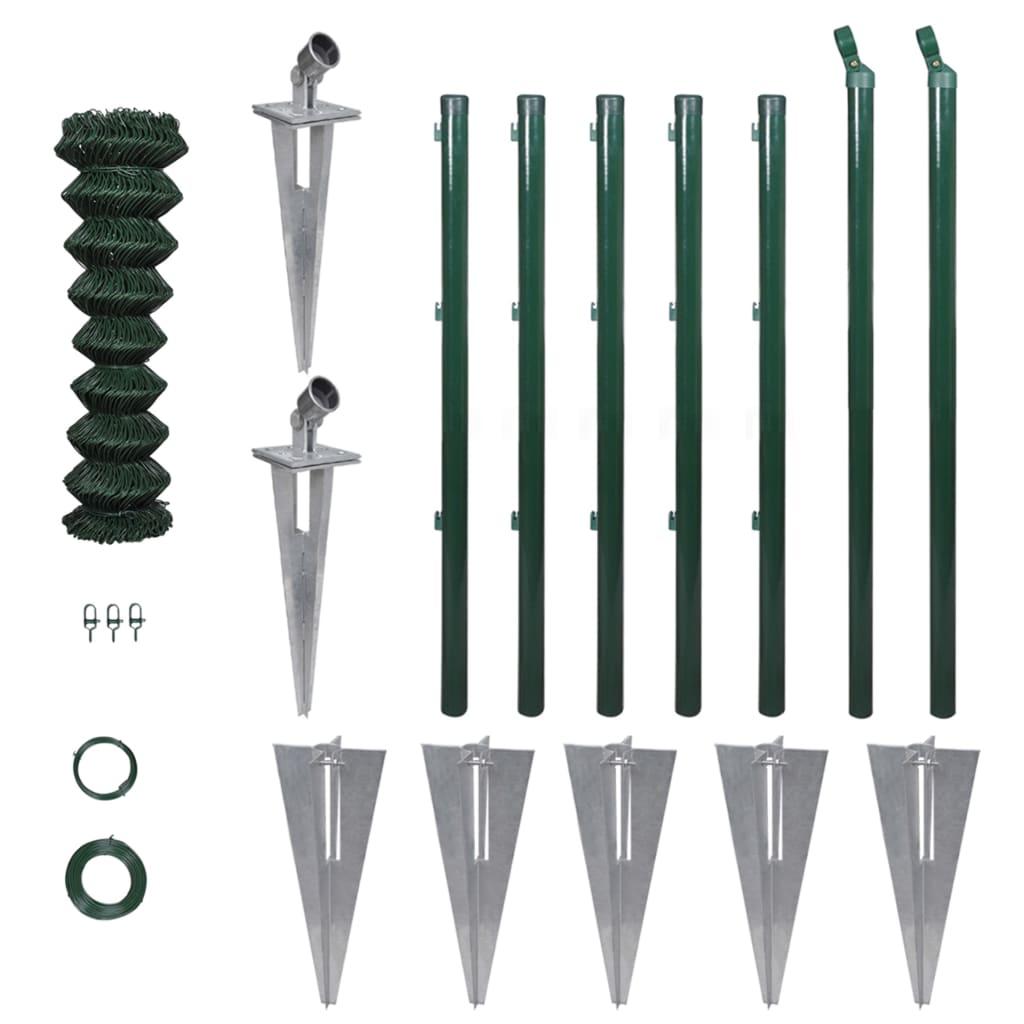 vidaXL Gard de legătură din plasă cu stâlpi și țăruși, 0,8x15 m, oțel poza vidaxl.ro