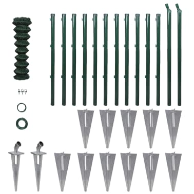 Chain-Link Fence Set with Posts Spike Anchors & Other Fitting 1.25x25m[1/13]