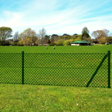 vidaXL Chain Link Fence with Posts Spike Galvanised Steel 4