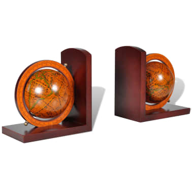 Bookstand World Map Globe Bookend Classic A Pair[1/5]