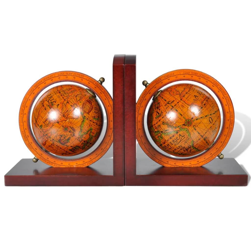 vidaXL Boekensteun klassieke wereldbol (2 stuks)