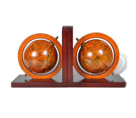 Bookstand World Map Globe Bookend Classic A Pair[2/5]