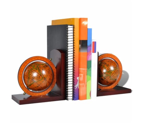 Bookstand World Map Globe Bookend Classic A Pair[3/5]