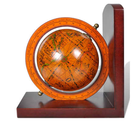 Buchstützen 2 tlg. Antike mit Globen Weltkugel Braun[4/5]