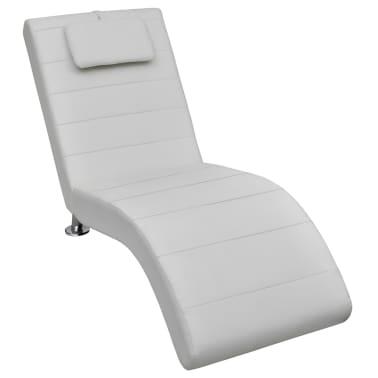 vidaXL Chaise longue avec oreiller Blanc Similicuir[1/7]