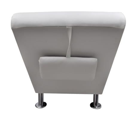 vidaXL Chaise longue avec oreiller Blanc Similicuir[4/7]