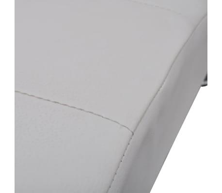vidaXL Chaise longue avec oreiller Blanc Similicuir[5/7]