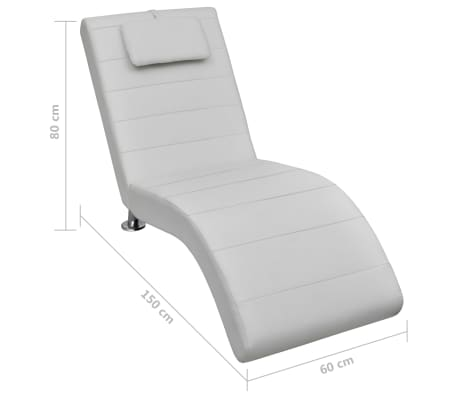vidaXL Chaise longue avec oreiller Blanc Similicuir[7/7]