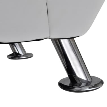 vidaXL Chaise longue avec oreiller Blanc Similicuir[6/7]