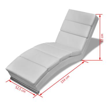 vidaXL Chaise Lounge Artificial Leather White[5/5]
