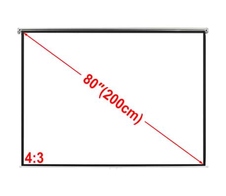 Manual Projection Screen 160 x 123 cm Matt White 4:3 Wall Ceiling Mount