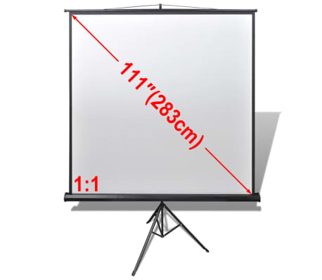 Manual Projection Screen with Height Adjustable Stand 200 x 200 cm 1:1[1/5]