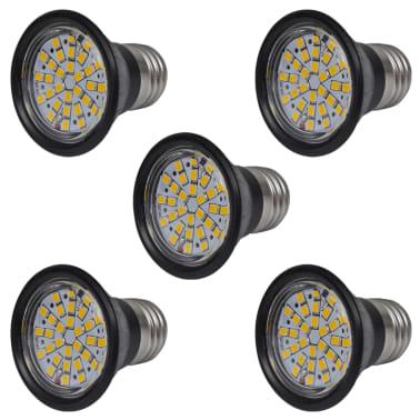 Set riflettori da 5 lampadine led nero 3w e27 colore for Lampadine led e27 prezzi