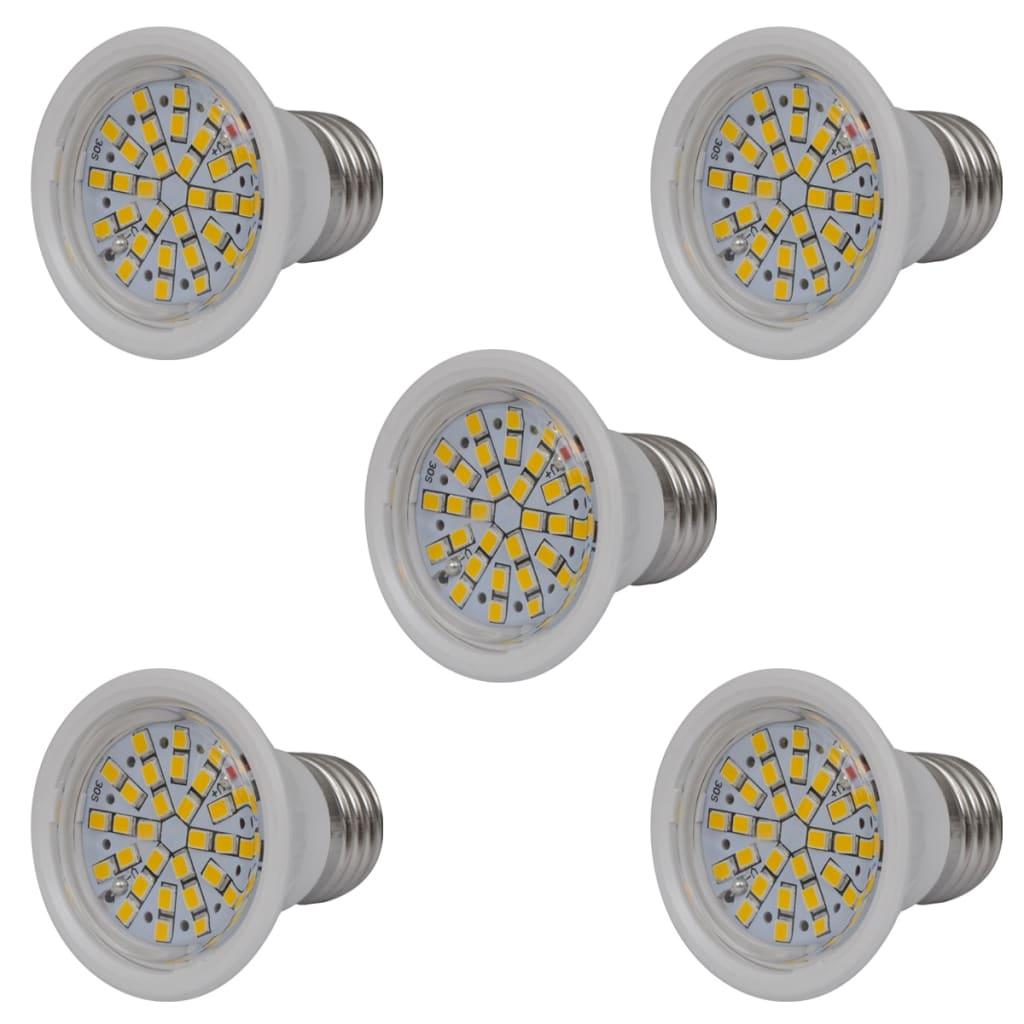 Sada 5 bodových LED žárovek bílých 3 W E27 teplé bílé světlo
