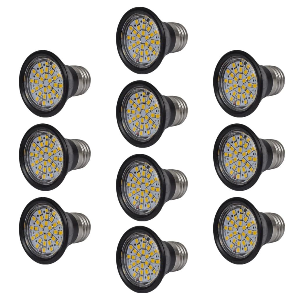 Set 10 černých LED bodových žárovek 3W E27 Teplá bílá