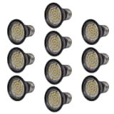 Spotlight Set 10 LED Bulbs Black 3W E27 Warm White