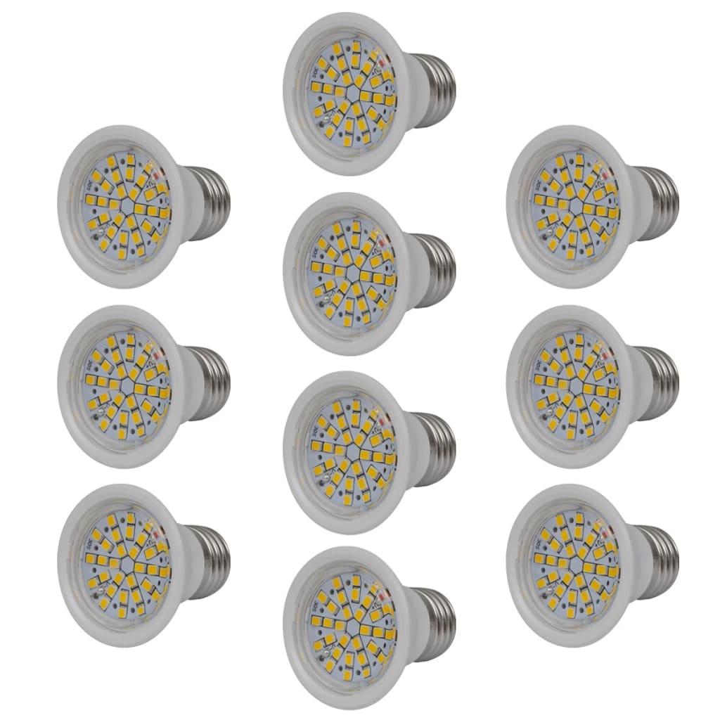Set 10 bílých LED bodových žárovek 3W E27 Teplá bílá
