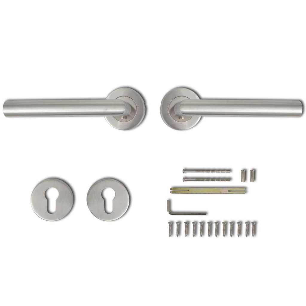 Afbeelding van vidaXL Deurklink set RVS (cilinderrozet)