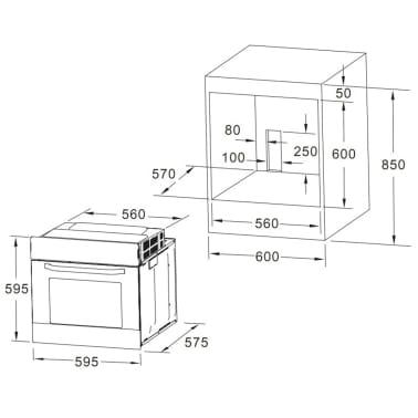 vidaXL Four électrique incorporé 8 fonctions Acier inoxydable Classe A[5/6]