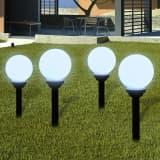 "vidaXL Outdoor Path Garden Solar Lamp Solar Ball Light LED 5.9"" 4pcs with Ground Spike"