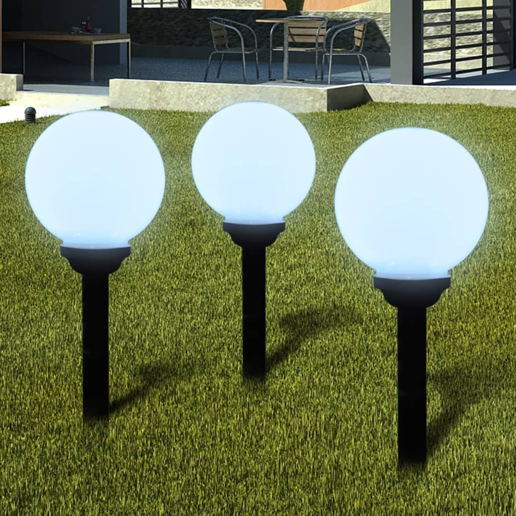 Lămpi solare pentru exterior cu LED-uri + țăruși, 20 cm, 3 buc poza vidaxl.ro