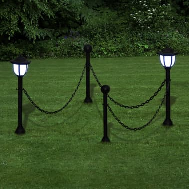 Chain Fence with Solar Lights Two LED Lamps Two Poles[1/5]