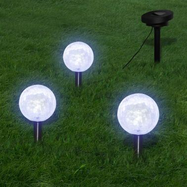 vidaXL Solarbollampen 3 st LED met grondankers en zonnepaneel[1/7]