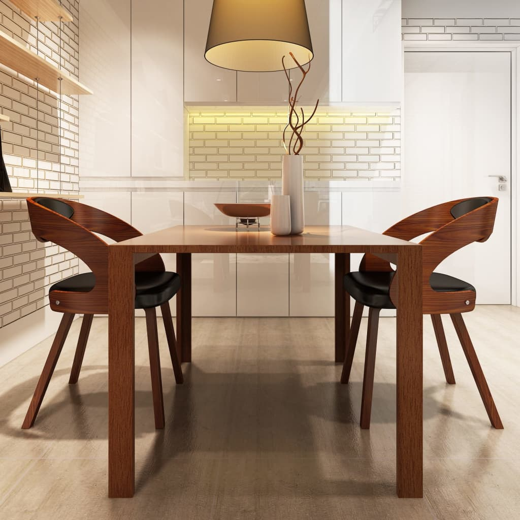 vidaXL Set of 2 Dining Chairs Wooden Frame Brown