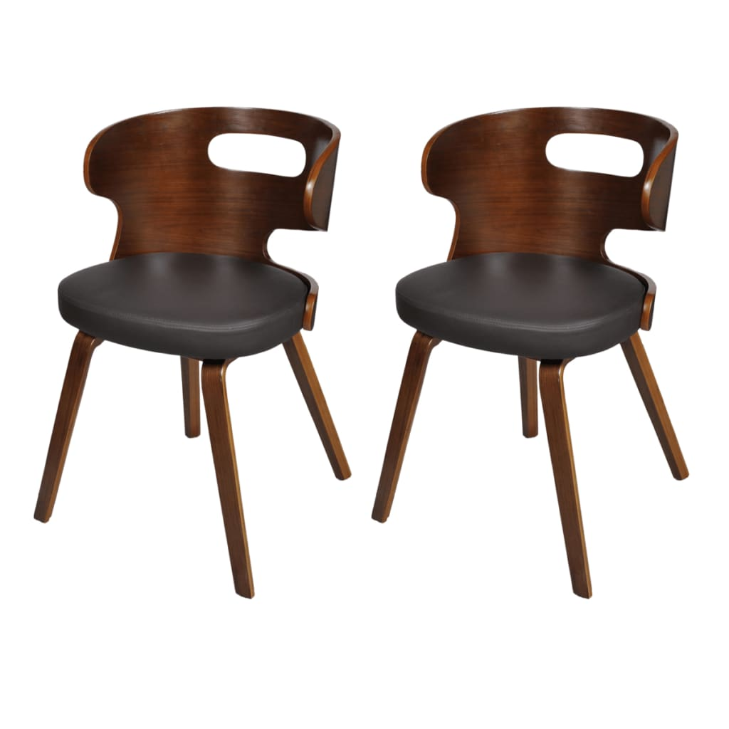 vidaXL Set of 2 Dining Chairs Wooden Frame Brown Cut Out Bent