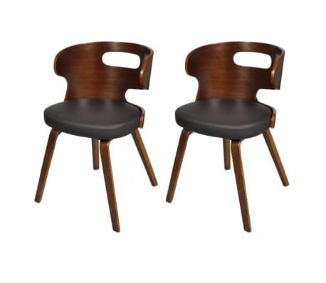 Vidaxl sillas de comedor 2 uds de madera y cuero for Sillas comedor cuero marron