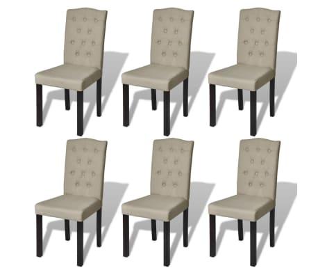 Vidaxl Bois Massif 6x Chaise De Salle à Manger Salon Beige Chaises