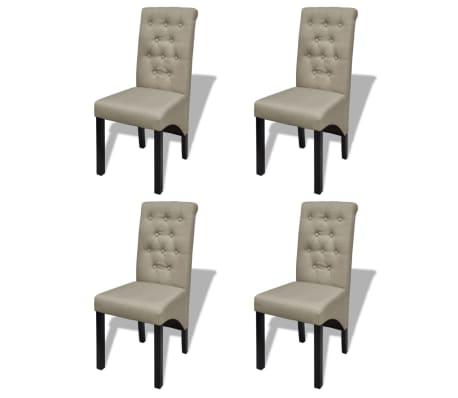vidaXL Καρέκλες Τραπεζαρίας 4 τεμ. Μπεζ Υφασμάτινες