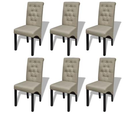 vidaXL Καρέκλες Τραπεζαρίας 6 τεμ. Μπεζ Υφασμάτινες