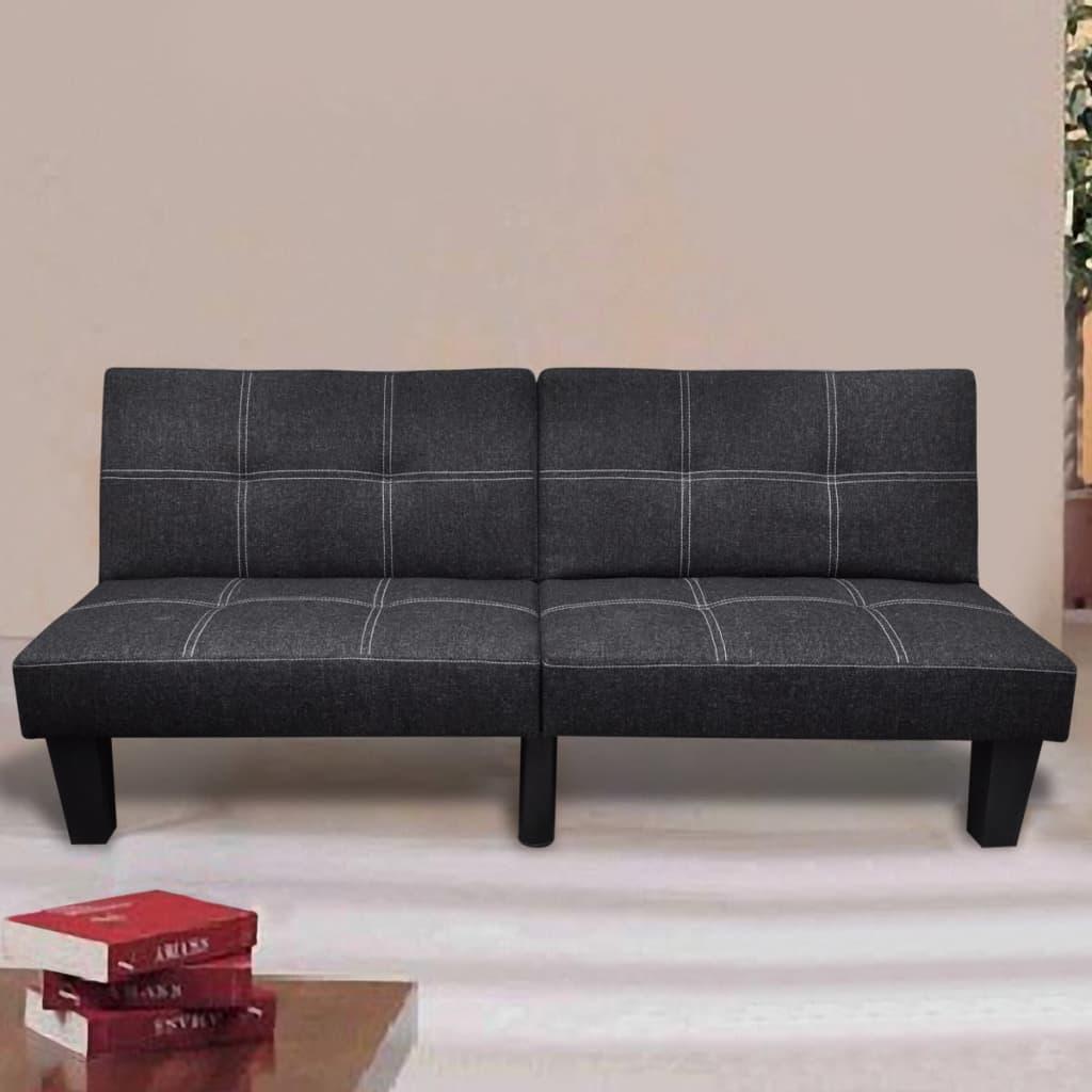 vidaXL Rozkládací klik klak pohovka textilní polohovatelná černá