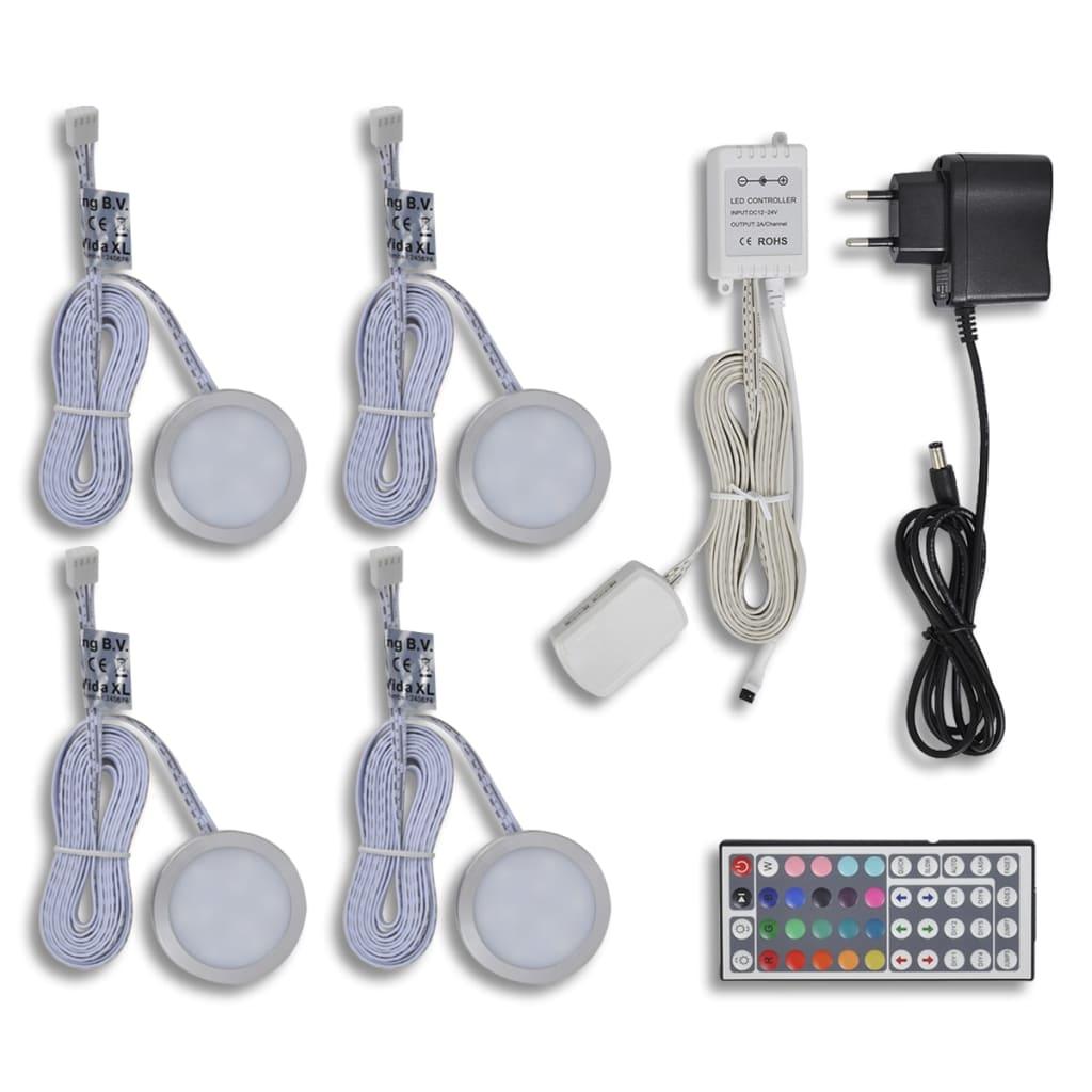 Set 4 ks kulatých barevných LED světel pod kuchyňské skříňky