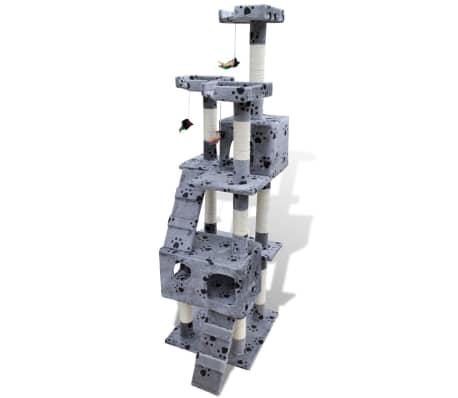 vidaXL Kissan raapimispuu 170 cm 2 pesää tassunjäljet harmaa[2/3]