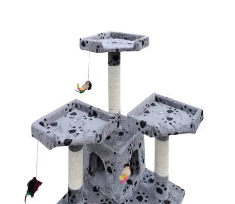 Kattenkrabpaal Max 170 cm 2 huisjes (grijs) met pootafdrukken[3/3]