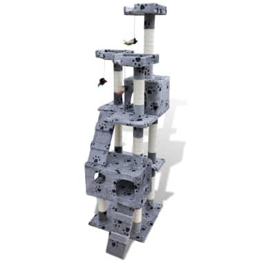Kattenkrabpaal Max 170 cm 2 huisjes (grijs) met pootafdrukken[2/3]