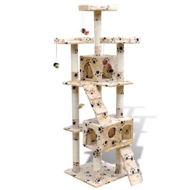 Kissan Raapimispuu 170 cm 2 Pesällä Keltainen Tassu-kuvio[1/3]