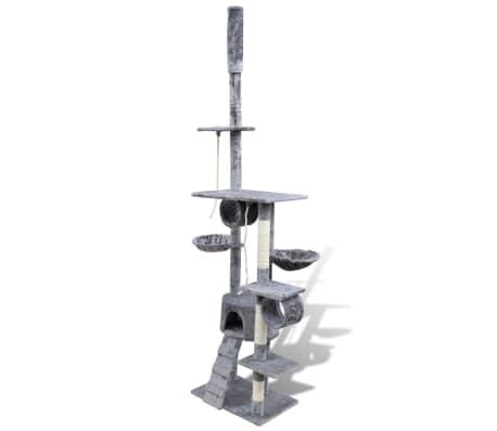 d18f5af4e160 Δέντρο για Γάτα Στύλος Ξυσίματος 220 - 240 cm με 1 Σπιτάκι Γκρι 2
