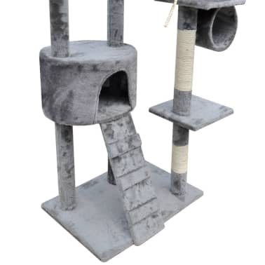Kattenkrabpaal Tommie 220/240 cm 1 huisje (grijs)[4/5]